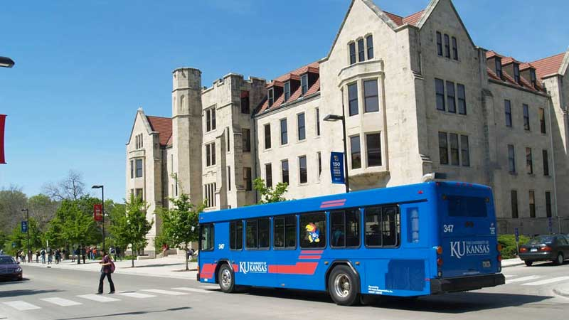 photo of bus on KU campus